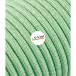 ROUND ELECTRIC CABLE COVERED COLOUR FABRIC GREEN MINT LM56