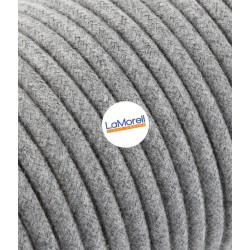 ROUND ELECTRIC CABLE COVERED COLOUR FABRIC COTTON GREY LM60