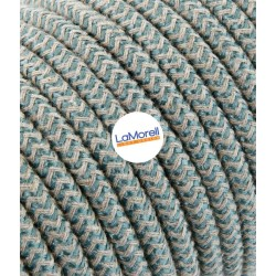 ROUND ELECTRIC CABLE COVERED COLOUR FABRIC SAND/SAUGE LM66