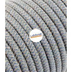 ROUND ELECTRIC CABLE COVERED COLOUR FABRIC SAND/AVIO LM67