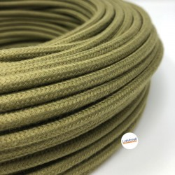 ROUND ELECTRIC CABLE COVERED COLOUR FABRIC OLIVE GREEN LM82