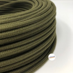 ROUND ELECTRIC CABLE COVERED COLOUR FABRIC MILITARY GREEN LM83