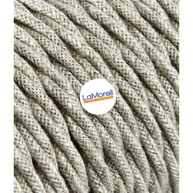 TWISTED ELECTRIC CABLE COVERED COLOUR FABRIC CANVAS BEIGE TR1