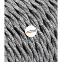TWISTED ELECTRIC CABLE COVERED COLOUR FABRIC CANVAS GREY TR2