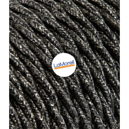 TWISTED ELECTRIC CABLE COVERED COLOUR FABRIC CANVAS DARK GREY TR3