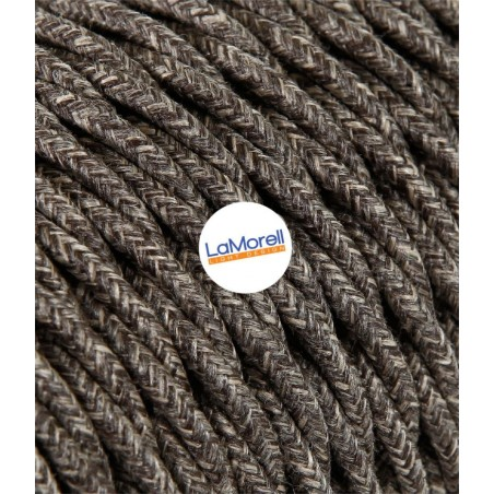 TWISTED ELECTRIC CABLE COVERED COLOUR FABRIC CANVAS BROWN TR4