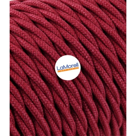 TWISTED ELECTRIC CABLE COVERED COLOUR FABRIC CHERRY TR53