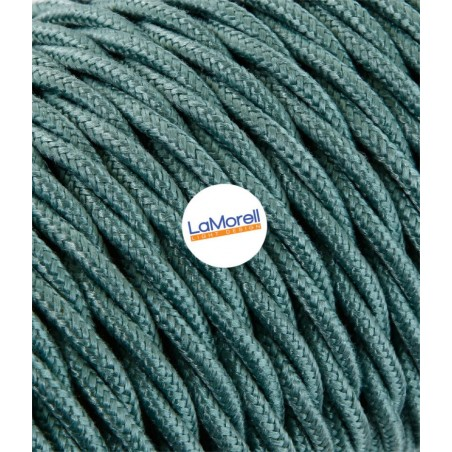 TWISTED ELECTRIC CABLE COVERED COLOUR FABRIC GREEN SAUGE TR61