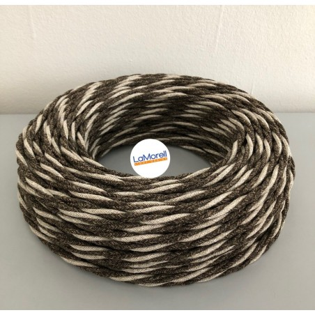 TWISTED ELECTRIC CABLE COVERED COLOUR FABRIC CANVAS BEIGE/BROWN TR50