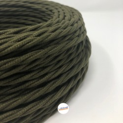 TWISTED ELECTRIC CABLE COVERED COLOUR FABRIC MILITARY GREEN TR83
