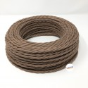 TWISTED ELECTRIC CABLE COVERED COLOUR FABRIC BROWN BARLEY TR87