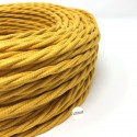 TWISTED ELECTRIC CABLE COVERED COLOUR FABRIC YELLOW MUSTARD TR88