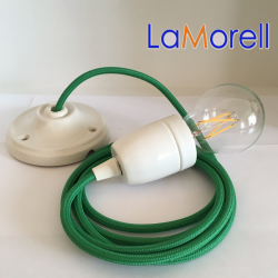 PORCELAIN PENDANT SUSPENDED LAMP WITH GREEN TEXTILE CABLE LM00