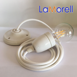 PORCELAIN PENDANT SUSPENDED LAMP WITH WHITE TEXTILE CABLE LM01