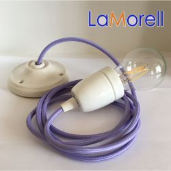 PORCELAIN PENDANT SUSPENDED LAMP WITH LILAC TEXTILE CABLE LM02