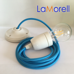 PORCELAIN PENDANT SUSPENDED LAMP WITH TURQUOISE TEXTILE CABLE LM07