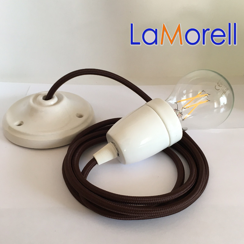 PORCELAIN PENDANT SUSPENDED LAMP WITH BROWN TEXTILE CABLE LM09