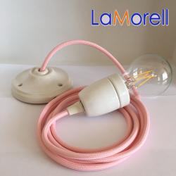 PORCELAIN PENDANT SUSPENDED LAMP WITH PINK TEXTILE CABLE LM14
