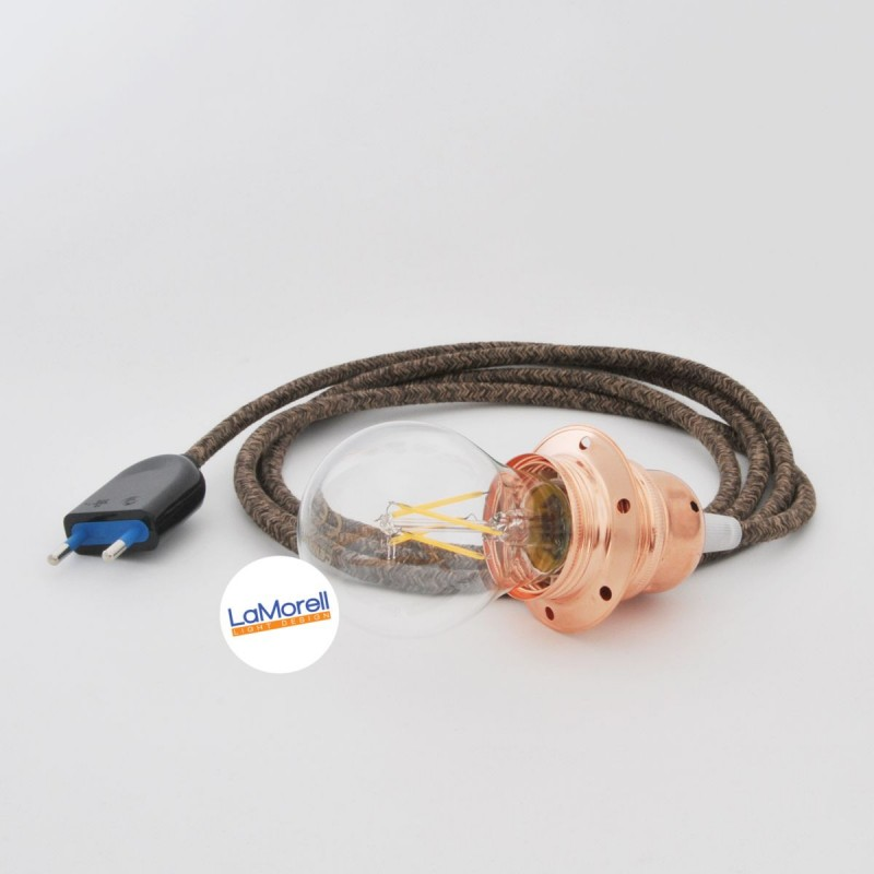CANVAS BROWN TEXTILE CABLE WITH E27 LAMP HOLDER IN METAL AND PLUG. 3 METERS