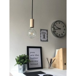 WOOD PENDANT SUSPENDED LAMP WITH COTTON BLACK TEXTILE CABLE