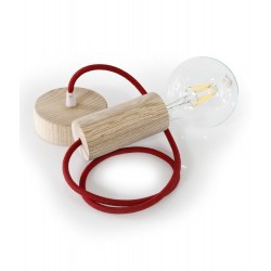 WOOD PENDANT SUSPENDED LAMP WITH CHERRY TEXTILE CABLE