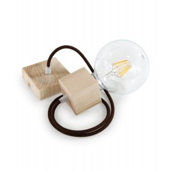 WOOD PENDANT SUSPENDED LAMP WITH COTTON BROWN TEXTILE CABLE