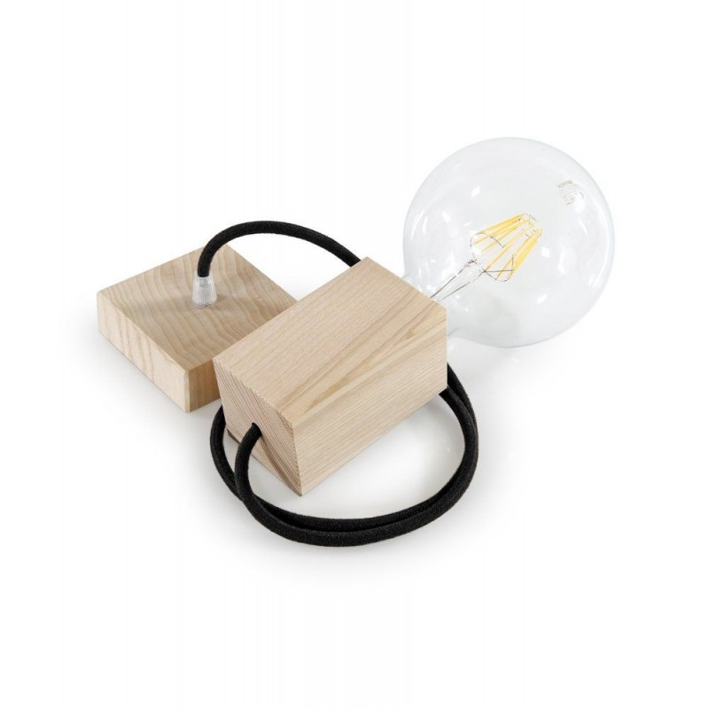 WOOD PENDANT SUSPENDED LAMP WITH SAUGE TEXTILE CABLE