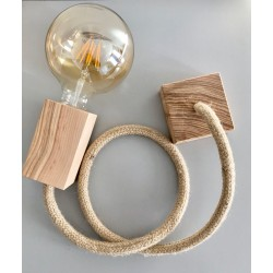 WOOD PENDANT SUSPENDED LAMP WITH JUTE ø14mm TEXTILE CABLE