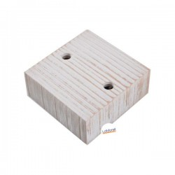 SQUARE ASH WOOD CEILING ROSE - 2 EXIT. WHITE