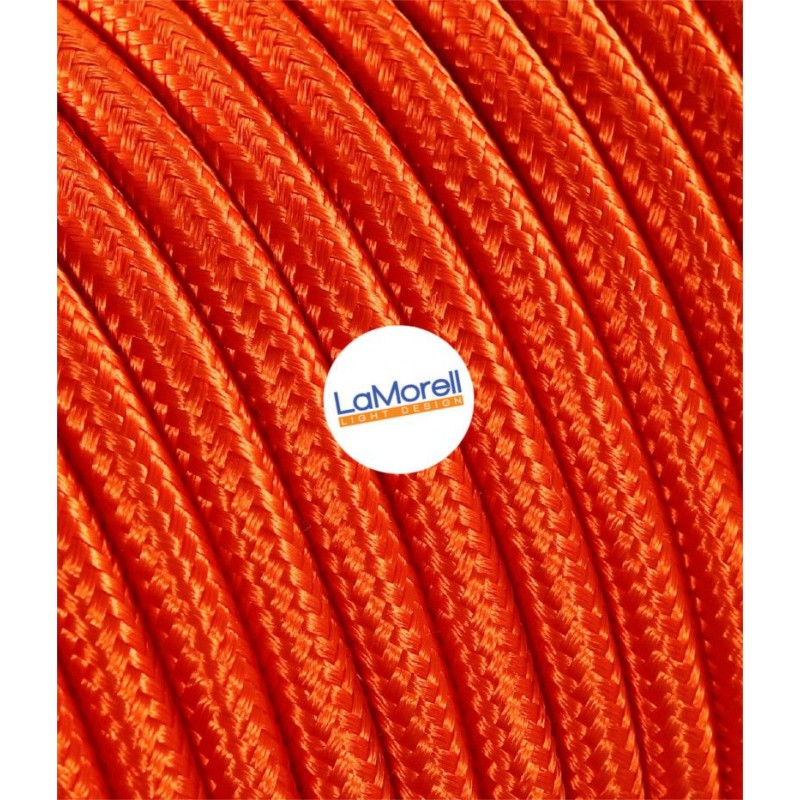 ROUND ELECTRIC CABLE COVERED COLOUR FABRIC ORANGE LM03