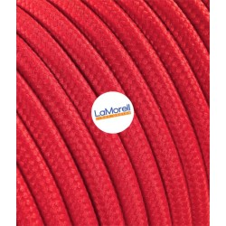 ROUND ELECTRIC CABLE COVERED COLOUR FABRIC RED LM05