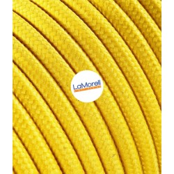 ROUND ELECTRIC CABLE COVERED COLOUR FABRIC YELLOW LM06