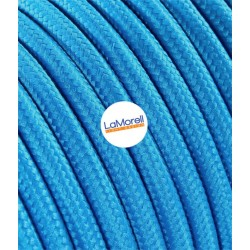 ROUND ELECTRIC CABLE COVERED COLOUR FABRIC TURQUOISE LM07