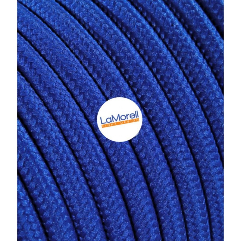 ROUND ELECTRIC CABLE COVERED COLOUR FABRIC BLUE LM08