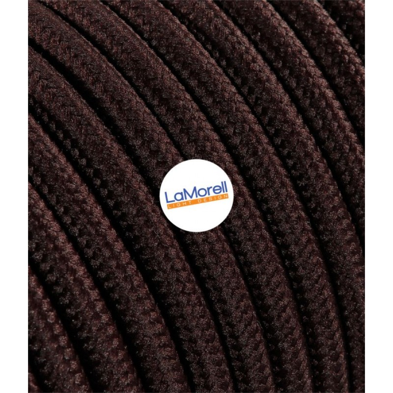 ROUND ELECTRIC CABLE COVERED COLOUR FABRIC BROWN LM09