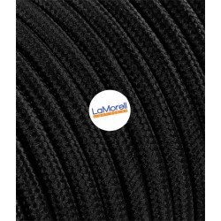 ROUND ELECTRIC CABLE COVERED COLOUR FABRIC BLACK LM10