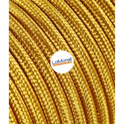 ROUND ELECTRIC CABLE COVERED COLOUR FABRIC GOLD LM12
