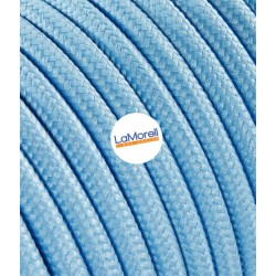 ROUND ELECTRIC CABLE COVERED COLOUR FABRIC LIGHT BLUE LM15