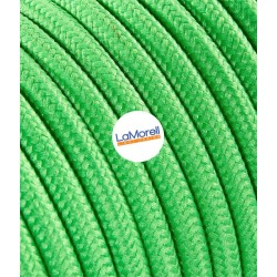 ROUND ELECTRIC CABLE COVERED COLOUR FABRIC GREEN KIWI LM16