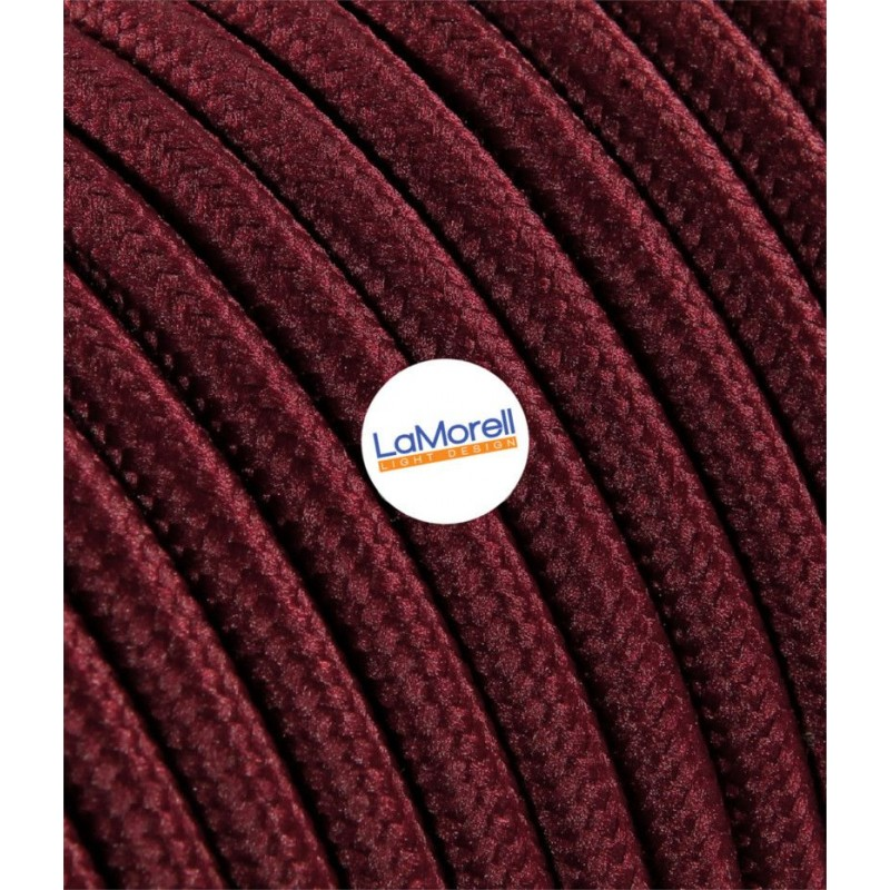 ROUND ELECTRIC CABLE COVERED COLOUR FABRIC BORDEAUX LM17