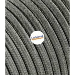 ROUND ELECTRIC CABLE COVERED COLOUR FABRIC GREY MOUSE LM18