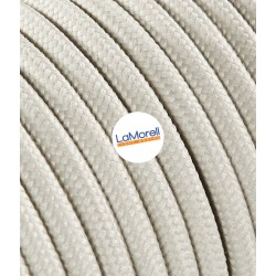 ROUND ELECTRIC CABLE COVERED COLOUR FABRIC IVORY LM52