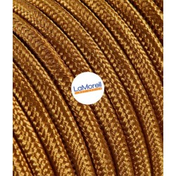 ROUND ELECTRIC CABLE COVERED COLOUR FABRIC WHISKEY LM77