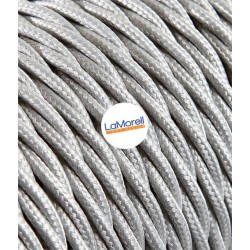 TWISTED ELECTRIC CABLE COVERED COLOUR FABRIC SILVER TR0/A