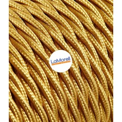 TWISTED ELECTRIC CABLE COVERED COLOUR FABRIC GOLD TR10