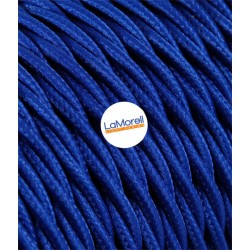 TWISTED ELECTRIC CABLE COVERED COLOUR FABRIC BLUE TR100