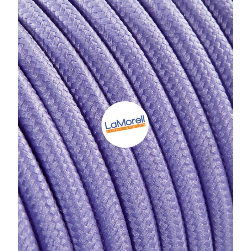 ROUND ELECTRIC CABLE COVERED COLOUR FABRIC LILAC LM02
