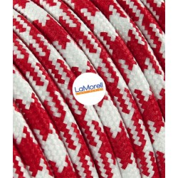 ROUND ELECTRIC CABLE COVERED COLOUR FABRIC WHITE/RED LM35