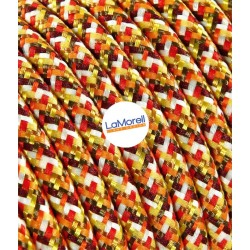 ROUND ELECTRIC CABLE COVERED COLOUR FABRIC PIXEL ORANGE PX01