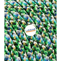 ROUND ELECTRIC CABLE COVERED COLOUR FABRIC PIXEL GREEN PX05